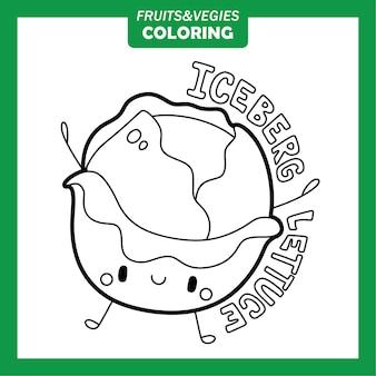 Warzywa i owoce kolorowanie znaków sałata lodowa
