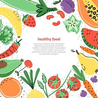 Warzywa i owoce ręcznie rysowane illustratoin. zdrowy posiłek, dieta, odżywianie.