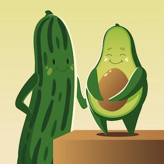 Warzywa kawaii ładny ogórek i awokado kreskówka styl ilustracji wektorowych