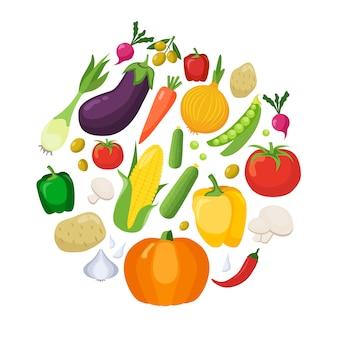 Warzywa kolorowe ikony płaski zestaw