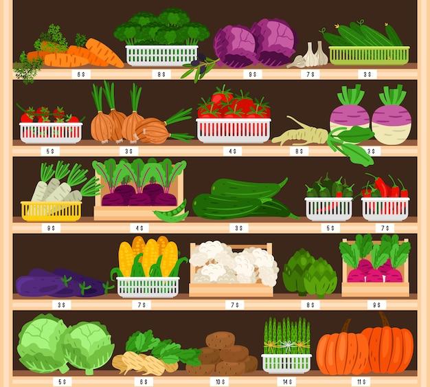 Warzywa na półkach. stoisko warzywne z cenami, supermarket eco sprzedaż zdrowych ekologicznych produktów spożywczych, pomidor i dynia wektor, czosnek i odciski
