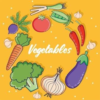 Warzywa napis zdrowa żywność