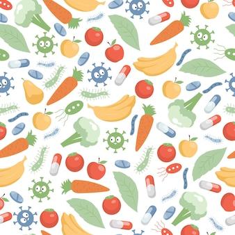 Warzywa owoce komórki pigułki i płaski wzór mikroflory