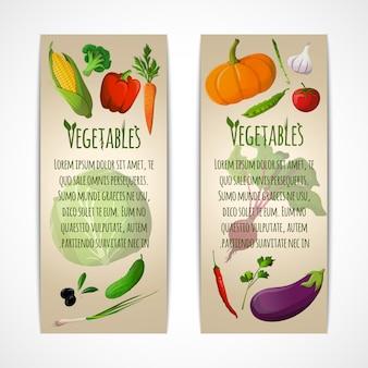 Warzywa pionowo sztandarów szablon