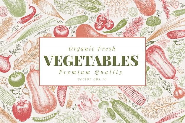 Warzywa ręcznie rysowane ilustracji wektorowych.