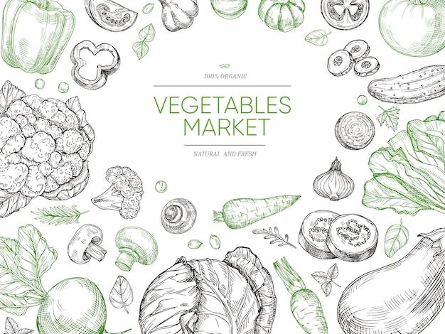 Warzywa ręcznie rysowane tła. zestaw warzyw ekologicznych. szkic wegańskie menu