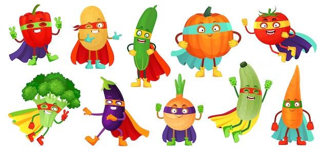 Warzywa superbohatera. super ogórek, maska bohatera na dyni i warzywa żywności z superbohaterami płaszcz ilustracja kreskówka zestaw
