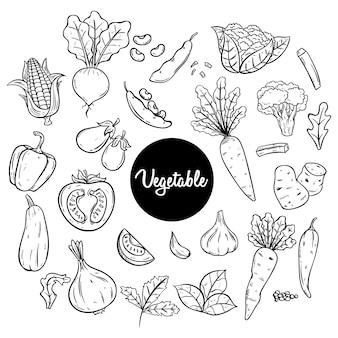 Warzywa szkic lub ręcznie rysowane styl w kolorze czarno-białym