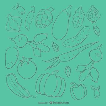 Warzywa szkic tło