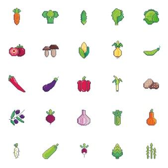 Warzywa sztuki pikseli zestaw ikon.