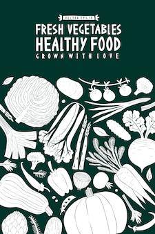 Warzywa tło. styl linocut. zdrowe jedzenie.
