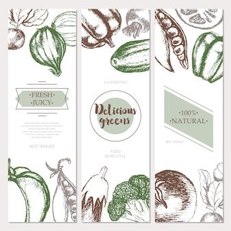 Warzywa - trzyczęściowy wektor ręcznie rysowane kwadratowy zestaw ulotki z lato. realistyczne brokuły, dynia, rzodkiewka, cebula, pomidor, bakłażan, papryka, groszek ogórkowo-marchewkowy