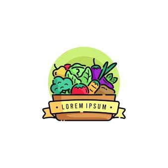 Warzywa w logo kartonu wiadra
