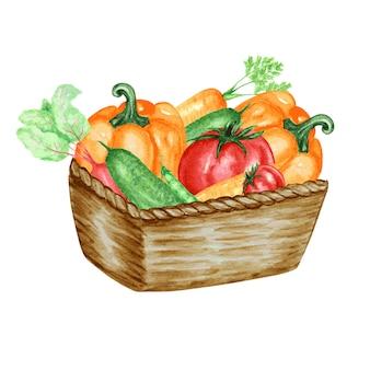 Warzywa w wiklinowym koszu. stylizowana kolorowa ilustracja. ogórek, papryka, pomidory, marchew