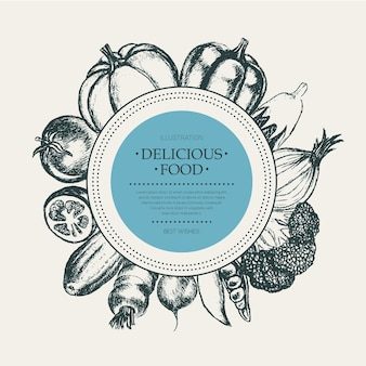 Warzywa - wektor czarno-biały ciągnione okrągły transparent z lato. realistyczne brokuły, dynia, rzodkiewka, cebula, pomidor, bakłażan, papryka, groszek ogórkowo-marchewkowy