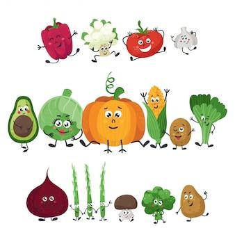 Warzywa wektor izoluje w stylu kreskówki