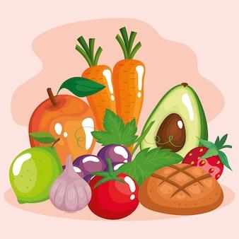 Warzywa z owocami i zdrową żywnością