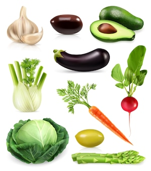 Warzywa, zestaw ikon wektorowych