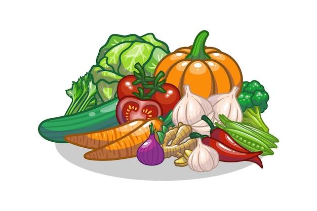 Warzywa zestaw rysunkowy projekt ilustracji