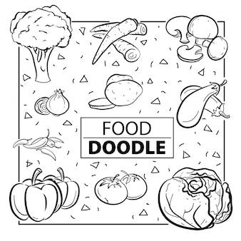 Warzywa żywności doodle symbol i obiekt