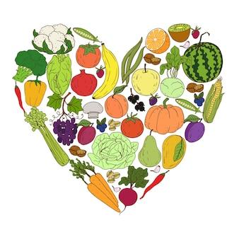 Warzywne serce. gospodarstwo ekologiczne elementy zdrowego stylu życia. zdrowe ręcznie rysujące kolorowe warzywa, owoce, jagody, orzechy, grzyby