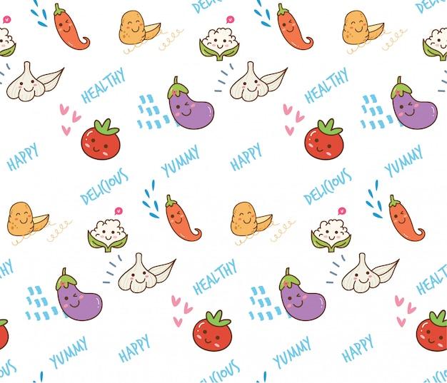 Warzywo doodle bezszwowy tło