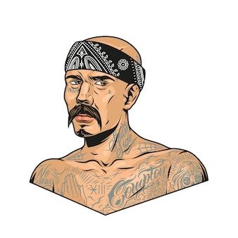 Wąsaty gangster latino z tatuażami chicano i chustką w stylu vintage na białym tle ilustracji