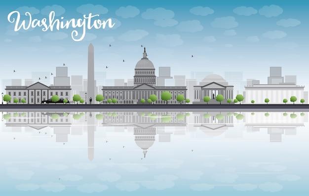 Washington dc miasta linia horyzontu z chmurą i niebieskim niebem