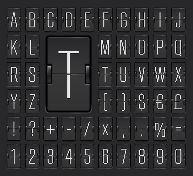 Wąska czarna czcionka z cyframi do wyświetlania informacji o odlocie lub przylocie. alfabet mechanicznej tablicy wyników terminalu lotniska, aby wyświetlić miejsce docelowe i harmonogram ilustracji wektorowych.