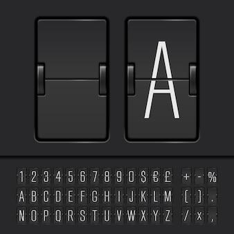 Wąski alfabet tablicy wyników z cyframi i symbolami