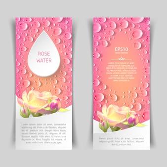 Wąski pionowy różowy baner z różami i kroplami