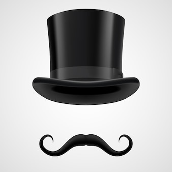 Wąsy i ilustracja magik kapelusz od góry