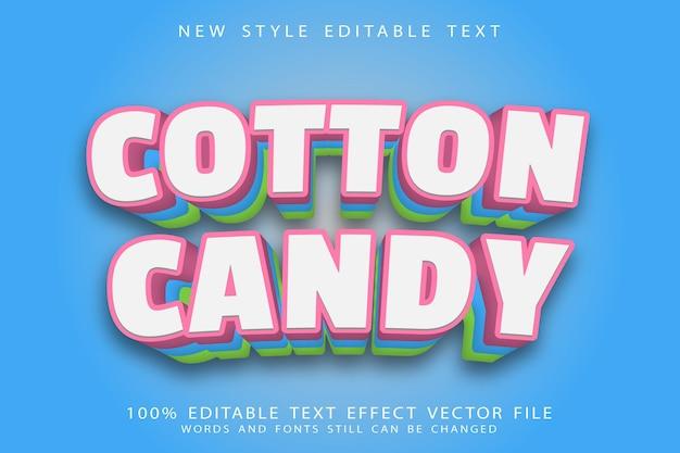 Wata cukrowa edytowalny efekt tekstowy wytłoczony w nowoczesnym stylu