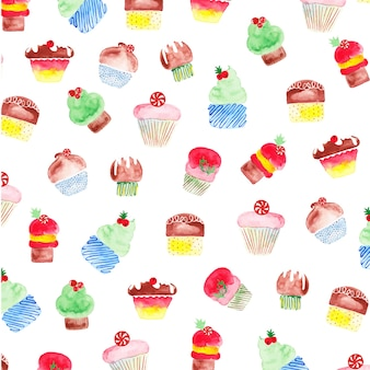 Watercolour cup cakes wzór