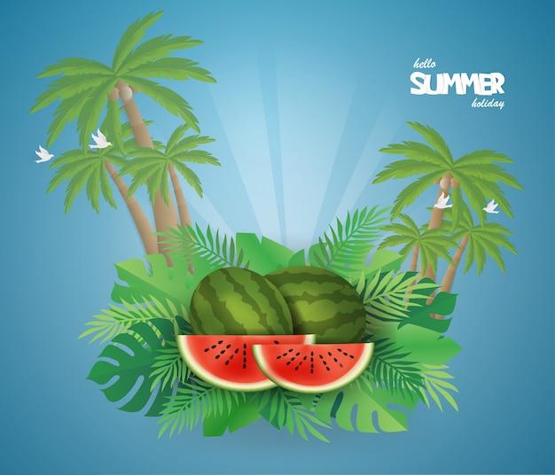 Watermelon na lato na zielonym tle.