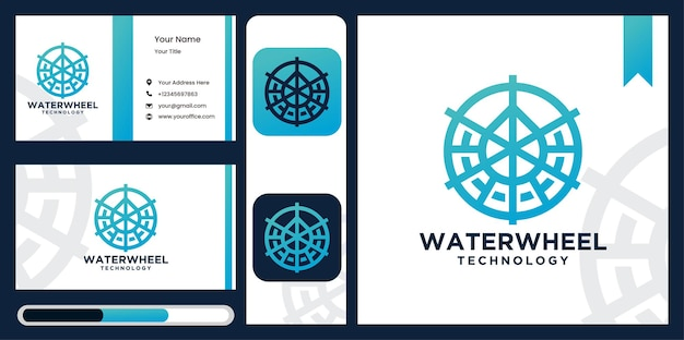 Waterwheel logo szablon technologii wody waterwheel logo design.