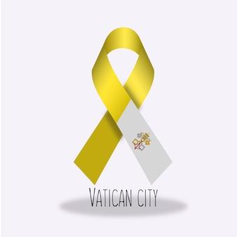 Watykan miasto banderą wstążką projektu