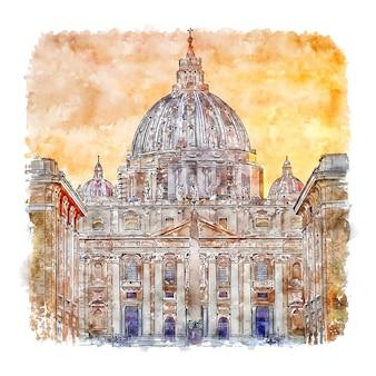 Watykan rzym włochy szkic akwarela ręcznie rysowane ilustracji