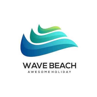 Wave beach logo kolorowe gradientowe streszczenie