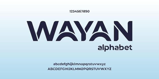 Wayan, nowoczesny kreatywny alfabet z szablonem miejskiego stylu