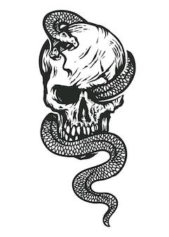 Wąż i czaszka czarno-biały ilustracja sztuki