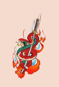 Wąż i miecz samurajski katana ręcznie rysowane w stylu japońskim. projekt do drukowania na koszulkach, naklejkach i nie tylko.