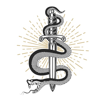 Wąż na nożu w stylu tatuażu. element na koszulkę, plakat, kartę, godło, znak. ilustracja
