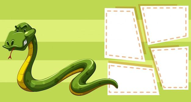 Wąż na szablonie notatki