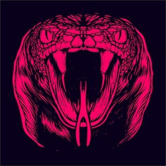Wąż twarz z bliska ilustracja grafika