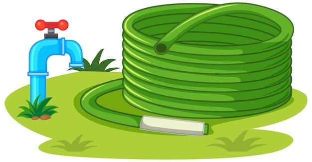 Wąż wodny z kranem i elementami natury