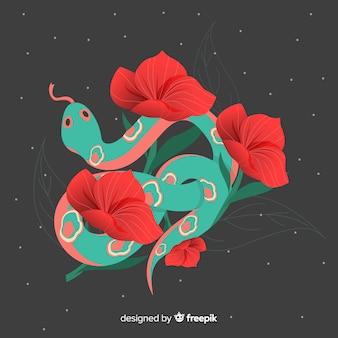 Wąż z kwiatami ilustracyjnymi