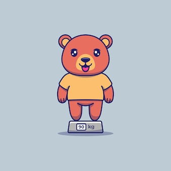 Ważenie ładny gruby niedźwiedź