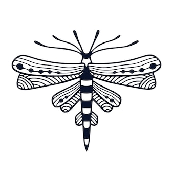 Ważka ilustracja w ozdobnym stylu na projekt tatuażu lub t-shirt. dziecięcy nadruk wnętrza z ręcznie rysowaną czarno-białą ważką.