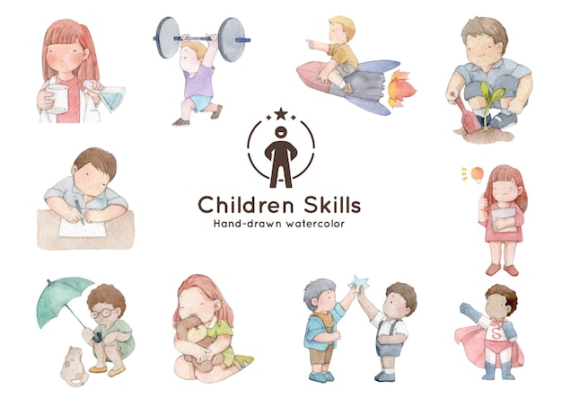 Ważne umiejętności dzieci ręcznie rysowane akwarela ilustracja